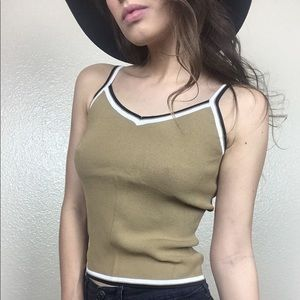 Vintage 90s ribbed stretch cropped sweater tank